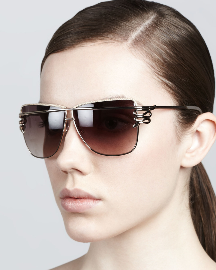 Roberto Cavalli Futuristic Serpent-Temple Sunglasses, Rose Golden