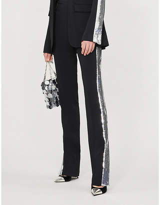 David Koma Sequin-embellished high-rise straight crepe trousers