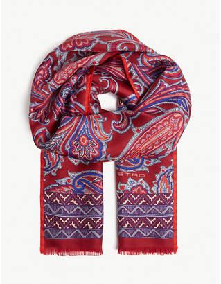 Etro Paisley skinny silk scarf