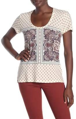 Lucky Brand Paisley Print Border Short Sleeve T-Shirt