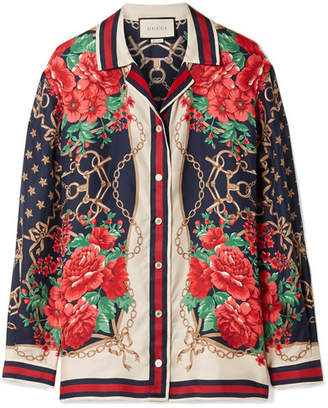 Gucci Oversized Printed Silk-twill Shirt - Red