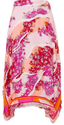 Emilio Pucci Fringed Printed Silk-twill Midi Skirt - Pink