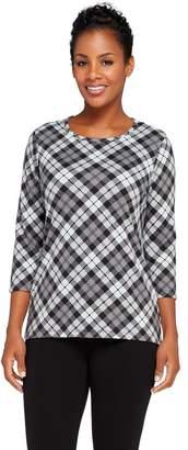 Denim & Co. Brushed Heavenly Jersey Bias Plaid 3/4 Sleeve Top