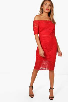 boohoo Boutique Off Shoulder Lace Midi Dress