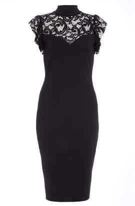 Quiz Black Lace Frill High Neck Midi Dress