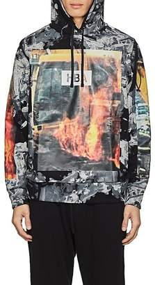 Hood by Air MEN'S FIRE-PRINT COTTON TERRY HOODIE