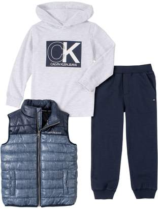 Calvin Klein Little Boy's 3-Piece Top, Vest Pants Set