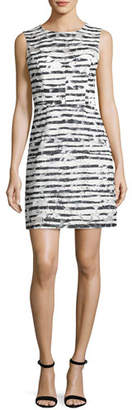Milly Nina Sleeveless Floral Striped Burnout Dress, Black