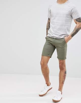 Solid Slim Fit Chino Short In Khaki
