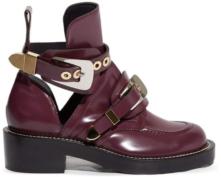 Balenciaga  BALENCIAGA Ceinture cut-out leather ankle boots