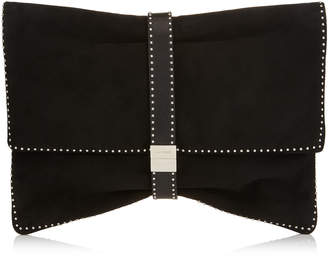 Jimmy Choo CHANDRA/M Black Suede and Silver Micro Studs Clutch Bag with Studded Leather Bracelet