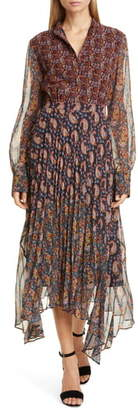 Altuzarra Asymmetrical Paisley Print Long Sleeve Midi Dress