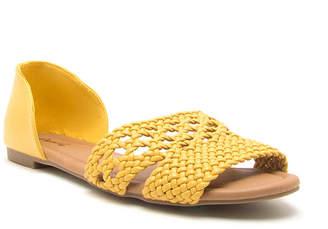 Qupid Womens Palmer 516 Slip-on Open Toe Ballet Flats