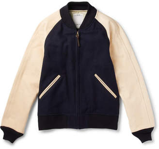 Visvim Leather-Panelled Wool And Linen-Blend Bomber Jacket
