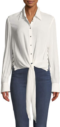 Haute Hippie Reflected Light Open-Side Tie-Front Blouse