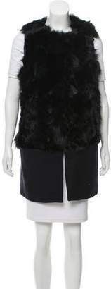BCBGMAXAZRIA Fur and Wool Vest