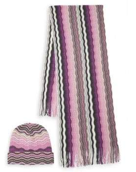 Missoni Two-Piece Striped Knit Hat & Scarf Set
