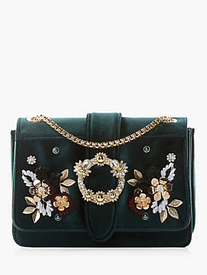 Dune Devi Small Embroidered Flowers Cross Body Bag, Green
