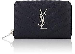 Saint Laurent Women's Monogram Small Leather Wallet - Navy
