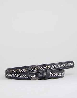 Asos Skinny Belt With Geo-Tribal Embroidery In Black And White