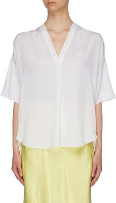 Vince Shirred shoulder silk crepe V-neck blouse