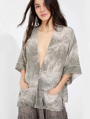 Halston Printed silk kimono