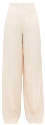 Jil Sander High Rise Twill Wide Leg Trousers - Womens - Light Pink