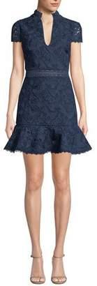 Alice + Olivia Diona Mandarin-Collar Fit-&-Flare Dress