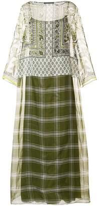 Alberta Ferretti mixed print maxi dress