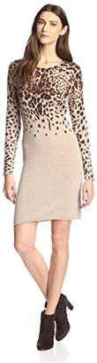 James & Erin Women's Cashmere Leopard Print Sweater Dress