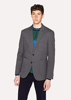 Paul Smith Men's Slim-Fit Grey Jersey-Cotton Buggy-Lined Blazer