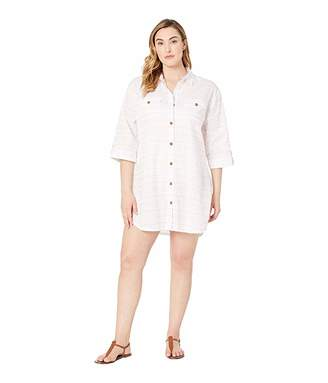 fa11425fb2 Dotti Plus Size Baja Stripe Shirtdress Cover-Up