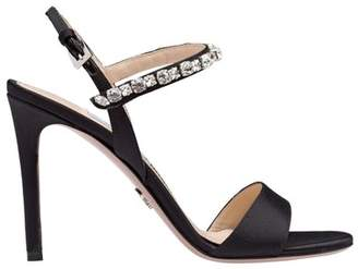 Prada Satin Sandals With Synthetic Crystals