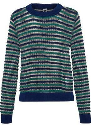M Missoni Metallic Striped Open-Knit Wool-Blend Sweater
