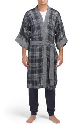 Men's Plaid Double Fabric Robe