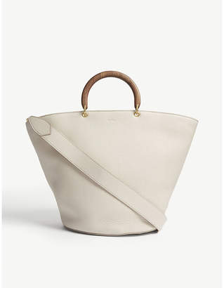 Max Mara Wooden handle leather bucket tote