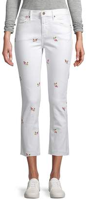 Driftwood Women's Candace Floral-Embroidered Cropped Skinny Jeans - White, Size 29 (6-8)