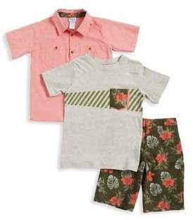 Nannette Little Boy's Three-Piece Tropical Print T-Shirt, Button-Down Shirt and Shorts Set