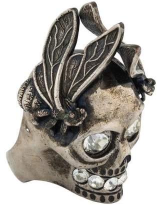 Alexander McQueen Skull & Bee Crystal Cocktail Ring