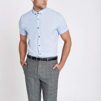 River Island Mens Light Blue slim fit short sleeve shirt