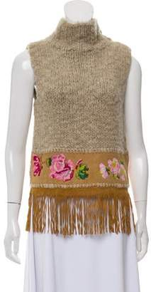 Christian Dior Wool Fringe-Trimmed Sleeveless Top