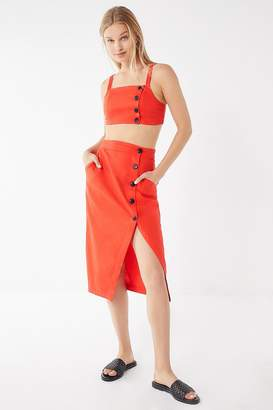 Urban Outfitters Amanda Linen Button-Down Midi Skirt