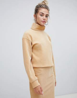 Bershka high neck chenille sweatshirt in beige