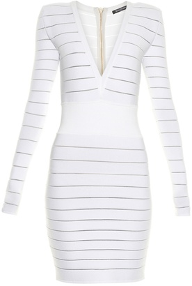 BALMAIN Deep V-neck knit dress $2,375 thestylecure.com