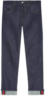 Tapered denim pant with Web $620 thestylecure.com