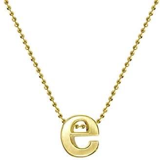 Alex Woo Women's Little Letter 14ct Yellow Gold E Pendant Necklace of 40cm