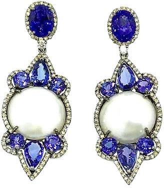 Arthur Marder Fine Jewelry 14K & Silver 3.85 Ct. Tw. Diamond, Tanzanite, & 18Mm Pearl Earrings