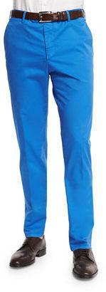 Zanella Parker Cotton-Stretch Flat-Front Trousers $325 thestylecure.com