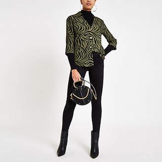 River Island Khaki tiger print bar back blouse