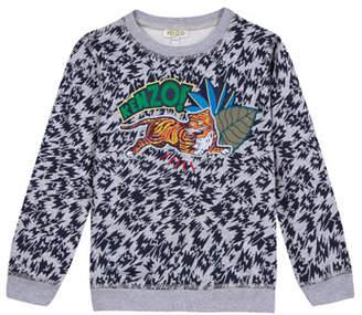 Kenzo Animal-Print Sweatshirt w/ Logo & Jaguar Patches, Size 2-6